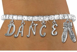 "<Br>              EXCLUSIVELY OURS!!<Br>        AN ALLAN ROBIN DESIGN!!<Br>             LEAD & NICKEL FREE!! <BR>        THIS IS A PERSONALIZED ITEM <Br>W19510B - AUSTRIAN CRYSTAL BALLET <BR> ""DANCE"" THEMED CHARM BRACELET  <BR>     FROM $9.56 TO $21.25  �2012"