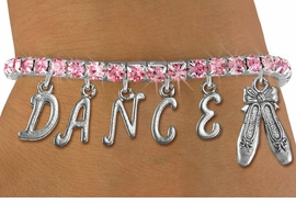 "<Br>              EXCLUSIVELY OURS!!<Br>        AN ALLAN ROBIN DESIGN!!<Br>             LEAD & NICKEL FREE!! <BR>        THIS IS A PERSONALIZED ITEM <Br>W19511B - AUSTRIAN ROSE CRYSTAL BALLET <BR> ""DANCE"" THEMED CHARM BRACELET  <BR>     FROM $9.56 TO $21.25  �2012"