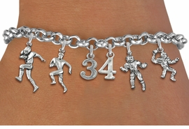 <Br>              EXCLUSIVELY OURS!!<Br>        AN ALLAN ROBIN DESIGN!!<Br>             LEAD & NICKEL FREE!! <BR>        THIS IS A PERSONALIZED ITEM <Br>W19554B - SILVER TONE FOOTBALL <BR>     THEMED FIVE CHARM BRACELET <BR> WITH PERSONALIZED TEAM NUMBER <BR>     FROM $8.44 TO $18.75  �2012