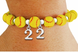 <Br>                  EXCLUSIVELY OURS!!<Br>            AN ALLAN ROBIN DESIGN!!<Br>                 LEAD & NICKEL FREE!! <BR>       THIS IS A PERSONALIZED ITEM <Br>W19767B - YELLOW STRETCH SOFTBALL <BR>THEMED CHARM BRACELET WITH YOUR <BR>   PERSONAL TEAM NUMBER ADDED <BR>        FROM $6.41 TO $14.25 �2012