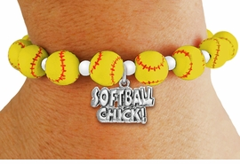 "<Br>                  EXCLUSIVELY OURS!!<Br>            AN ALLAN ROBIN DESIGN!!<Br>        LEAD, CADIUM, & NICKEL FREE!! <BR>       THIS IS A PERSONALIZED ITEM <Br>W19769B - YELLOW STRETCH SOFTBALL <BR>   THEMED CHARM BRACELET WITH A<BR>""SOFTBALL CHICK!"" SILVER TONE CHARM <BR>      FROM $6.19 TO $13.75 �2012"