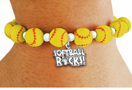 "<Br>                  EXCLUSIVELY OURS!!<Br>            AN ALLAN ROBIN DESIGN!!<Br>   LEAD, CADMIUM, & NICKEL FREE!! <BR>       THIS IS A PERSONALIZED ITEM <Br>W19770B - YELLOW STRETCH SOFTBALL <BR>   THEMED CHARM BRACELET WITH A<BR> ""SOFTBALL ROCKS!"" SILVER TONE CHARM <BR>      FROM $6.19 TO $13.75 �2012"