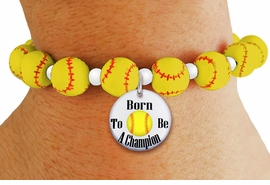 """<Br>                  EXCLUSIVELY OURS!!<Br>            AN ALLAN ROBIN DESIGN!!<Br>                 LEAD & NICKEL FREE!! <BR>       THIS IS A PERSONALIZED ITEM <Br>W19771B - YELLOW STRETCH SOFTBALL <BR>   THEMED CHARM BRACELET WITH A<BR>""""BORN TO BE A CHAMPION"""" DISK CHARM <BR>      FROM $6.19 TO $13.75 �2012"""