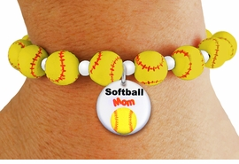 """<Br>                  EXCLUSIVELY OURS!!<Br>            AN ALLAN ROBIN DESIGN!!<Br>                 LEAD & NICKEL FREE!! <BR>       THIS IS A PERSONALIZED ITEM <Br>W19772B - YELLOW STRETCH SOFTBALL <BR>   THEMED CHARM BRACELET WITH A <BR>BRIGHT """"SOFTBALL MOM"""" DISK CHARM <BR>      FROM $6.19 TO $13.75 �2012"""