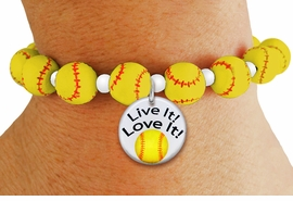 """<Br>                  EXCLUSIVELY OURS!!<Br>            AN ALLAN ROBIN DESIGN!!<Br>                 LEAD & NICKEL FREE!! <BR>       THIS IS A PERSONALIZED ITEM <Br>W19773B - YELLOW STRETCH SOFTBALL <BR>   THEMED CHARM BRACELET WITH A <BR>""""LIVE IT! LOVE IT!"""" SOFTBALL DISK CHARM <BR>      FROM $6.19 TO $13.75 �2012"""