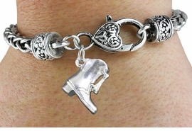<bR>               EXCLUSIVELY OURS!!<BR>         AN ALLAN ROBIN DESIGN!!<BR>             LEAD & NICKEL FREE!!<BR>W1139SB - DRILL TEAM BOOT <Br>CHARM & HEART CLASP BRACELET <BR>     FROM $4.64 TO $8.75 �2011