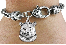 <bR>                   EXCLUSIVELY OURS!!<BR>             AN ALLAN ROBIN DESIGN!!<BR>                 LEAD & NICKEL FREE!!<BR>W1351SAK - DETAILED GRIZZLY BEAR <BR>WITH CLEAR CRYSTALS CHARM  <BR>    ON HEART LOBSTER CLASP BRACELET <Br>         FROM $5.63 TO $12.50 �2012