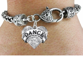 "<bR>             EXCLUSIVELY OURS!! <BR>        AN ALLAN ROBIN DESIGN!! <BR>           LEAD & NICKEL FREE!! <BR>  W1414SB - SILVER TONE ""DANCE"" <BR>   CLEAR CRYSTAL HEART CHARM ON <BR>   HEART LOBSTER CLASP BRACELET <Br>     FROM $5.63 TO $12.50 �2013"