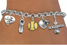 <Br>                     EXCLUSIVELY OURS!!<Br>               AN ALLAN ROBIN DESIGN!!<Br>                   LEAD & NICKEL FREE!!<Br>       W14355B - SOFTBALL THEME FIVE<BR>CHARM BRACELET FROM $7.31 TO $16.25<BR>                                   �2012