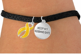 "<bR>                   EXCLUSIVELY OURS!!<Br>             AN ALLAN ROBIN DESIGN!!<BR>                  LEAD & NICKEL FREE!!<BR>W15827B -  ""KEEP MY HUSBAND SAFE""<Br>       AND YELLOW RIBBON BRACELET<Br>                  FROM $4.45 TO $8.50"