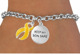 "<bR>              EXCLUSIVELY OURS!!<Br>        AN ALLAN ROBIN DESIGN!!<BR>             LEAD & NICKEL FREE!!<BR>W15833B -  ""KEEP MY SON SAFE""<Br>  AND YELLOW RIBBON BRACELET<Br>             FROM $4.45 TO $8.50"