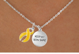 "<bR>             EXCLUSIVELY OURS!!<Br>       AN ALLAN ROBIN DESIGN!!<BR>            LEAD & NICKEL FREE!!<BR>W15834N - ""KEEP MY SON SAFE""<Br> & YELLOW AWARENESS RIBBON<Br>NECKLACE FROM $4.85 TO $8.50"