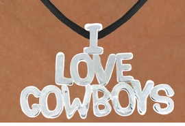 "<bR>                    EXCLUSIVELY OURS!!<Br>              AN ALLAN ROBIN DESIGN!!<bR>                  LEAD & NICKEL FREE!!<Br>W16159N - LARGE ""I LOVE COWBOYS""<Br>       BLACK SUEDE NECKLACE FROM<Br>                           $3.38 TO $7.50<BR>                                  ©2010"