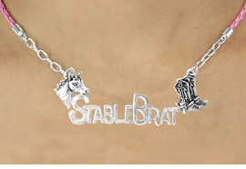 "<BR>                     EXCLUSIVELY OURS!!<Br>               AN ALLAN ROBIN DESIGN!!<bR>                    LEAD & NICKEL FREE!!<Br>    W16351N - WESTERN ""STABLE BRAT""<Br>    MARQUEE PENDANT & PINK BRAIDED<Br>NECKLACE FROM $7.85 TO $17.50 ©2010"