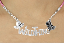"<BR>                     EXCLUSIVELY OURS!!<Br>               AN ALLAN ROBIN DESIGN!!<bR>                    LEAD & NICKEL FREE!!<Br>     W16357N - WESTERN ""WILD THING""<Br>    MARQUEE PENDANT & PINK BRAIDED<Br>NECKLACE FROM $7.85 TO $17.50 ©2010"