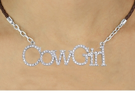 "<BR>               EXCLUSIVELY OURS!!<Br>         AN ALLAN ROBIN DESIGN!!<bR>              LEAD & NICKEL FREE!!<Br>   W16364N - AUSTRIAN CRYSTAL<Br>""COWGIRL"" MARQUEE PENDANT &<Br>BROWN BRAIDED NECKLACE FROM<Br>           $14.06 TO $31.25 ©2010"
