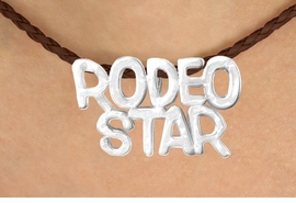 "<BR>                     EXCLUSIVELY OURS!!<Br>               AN ALLAN ROBIN DESIGN!!<bR>                    LEAD & NICKEL FREE!!<Br>    W16373N - ""RODEO STAR"" MARQUEE<Br>PENDANT & BROWN BRAIDED NECKLACE<Br>           FROM $4.50 TO $10.00 ©2010"