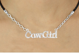"<BR>                    EXCLUSIVELY OURS!!<Br>              AN ALLAN ROBIN DESIGN!!<bR>                   LEAD & NICKEL FREE!!<Br>      W16377N - ""COWGIRL"" MARQUEE<Br>PENDANT & BLACK BRAIDED NECKLACE<Br>          FROM $5.63 TO $12.50 ©2010"
