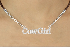 "<BR>                     EXCLUSIVELY OURS!!<Br>               AN ALLAN ROBIN DESIGN!!<bR>                    LEAD & NICKEL FREE!!<Br>       W16379N - ""COWGIRL"" MARQUEE<Br>PENDANT & BROWN BRAIDED NECKLACE<Br>            FROM $5.63 TO $12.50 ©2010"