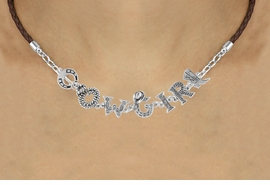 "<BR>                    EXCLUSIVELY OURS!!<Br>              AN ALLAN ROBIN DESIGN!!<bR>                   LEAD & NICKEL FREE!!<Br>     W16387N - ""COWGIRL"" WESTERN<Br>LETTERED BROWN BRAIDED NECKLACE<Br>          FROM $8.44 TO $18.75 ©2010"