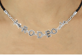 "<BR>                  EXCLUSIVELY OURS!!<Br>            AN ALLAN ROBIN DESIGN!!<bR>                 LEAD & NICKEL FREE!!<Br>       W16388N - ""RODEO"" WESTERN<Br>LETTERED BLACK BRAIDED NECKLACE<Br>       FROM $10.13 TO $22.50 ©2010"