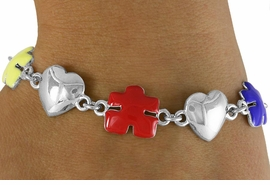 <bR>            EXCLUSIVELY OURS!!<Br>      AN ALLAN ROBIN DESIGN!!<Br>            LEAD & NICKEL FREE!!<Br>      W16447B - SILVER TONE &<Br>  COLORED AUTISM AWARENESS<Br>     PUZZLE PIECE & HEART LINK<Br>          BRACELET ©2010 FROM<bR>                   $6.19 TO $13.75
