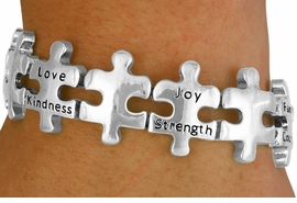 <bR>                EXCLUSIVELY OURS!!<Br>          AN ALLAN ROBIN DESIGN!!<Br>               LEAD & NICKEL FREE!!<BR> W16836B - MOTIVATIONAL MULTI<Br>WORD AUTISM AWARENESS PUZZLE<Br>    PIECE STRETCH BRACELET©2010<Br>              FROM $8.44 TO $18.75