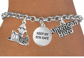 "<Br>                    EXCLUSIVELY OURS!!<Br>              AN ALLAN ROBIN DESIGN!!<Br>                   LEAD & NICKEL FREE!!<Br>W19293B - ""AMERICAN HERO"" FIRE FIGHTER <br>                   ""KEEP MY SON SAFE""<br>               THREE CHARM BRACELET <BR>                 FROM $4.50 TO $10.00"