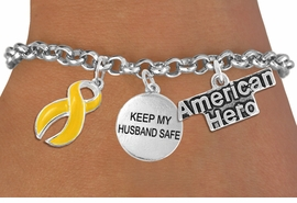 "<Br>                    EXCLUSIVELY OURS!!<Br>              AN ALLAN ROBIN DESIGN!!<Br>                   LEAD & NICKEL FREE!!<Br>W19295B - ""AMERICAN HERO"" YELLOW RIBBON <br>               ""KEEP MY HUSBAND SAFE""<br>               THREE CHARM BRACELET <BR>                 FROM $4.50 TO $10.00"