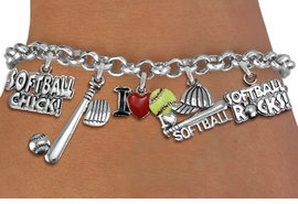 <Br>              EXCLUSIVELY OURS!!<Br>        AN ALLAN ROBIN DESIGN!!<Br>             LEAD & NICKEL FREE!! <Br>W19328B - SILVER TONE SOFTBALL <BR>    THEME FIVE CHARM BRACELET <BR>     FROM $7.31 TO $16.25  �2012