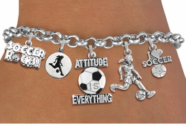 <Br>              EXCLUSIVELY OURS!!<Br>        AN ALLAN ROBIN DESIGN!!<Br>LEAD,CADMIUM, & NICKEL FREE!! <Br>W19365B - SILVER TONE SOCCER <BR>    THEME FIVE CHARM BRACELET <BR>     FROM $7.31 TO $16.25  �2012