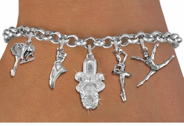 <Br>              EXCLUSIVELY OURS!!<Br>        AN ALLAN ROBIN DESIGN!!<Br>             LEAD & NICKEL FREE!! <Br>W19376B - SILVER TONE BALLET <BR> THEMED FIVE CHARM BRACELET <BR>     FROM $8.66 TO $19.25  �2012