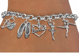 <Br>              EXCLUSIVELY OURS!!<Br>        AN ALLAN ROBIN DESIGN!!<Br>             LEAD & NICKEL FREE!! <Br>W19377B - SILVER TONE BALLET <BR> THEMED FIVE CHARM BRACELET <BR>     FROM $7.31 TO $16.25  �2012