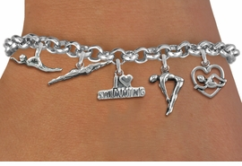 <Br>              EXCLUSIVELY OURS!!<Br>        AN ALLAN ROBIN DESIGN!!<Br>             LEAD & NICKEL FREE!! <Br>W19383B - SILVER TONE SWIMMING <BR>    THEMED FIVE CHARM BRACELET <BR>     FROM $7.31 TO $16.25  �2012