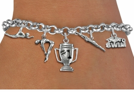 <Br>              EXCLUSIVELY OURS!!<Br>        AN ALLAN ROBIN DESIGN!!<Br>             LEAD & NICKEL FREE!! <Br>W19385B - SILVER TONE SWIMMING <BR>    THEMED FIVE CHARM BRACELET <BR>     FROM $7.31 TO $16.25  �2012