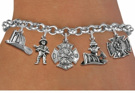 <Br>              EXCLUSIVELY OURS!!<Br>        AN ALLAN ROBIN DESIGN!!<Br>             LEAD & NICKEL FREE!! <Br>W19389B - SILVER TONE FIRE FIGHTER<BR>    THEMED FIVE CHARM BRACELET <BR>     FROM $7.31 TO $16.25  �2012
