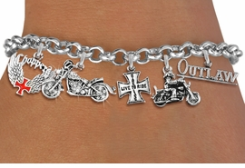 <Br>              EXCLUSIVELY OURS!!<Br>        AN ALLAN ROBIN DESIGN!!<Br>             LEAD & NICKEL FREE!! <Br>W19390B - SILVER TONE MOTORCYCLE <BR>    THEMED FIVE CHARM BRACELET <BR>     FROM $8.66 TO $19.25  �2012