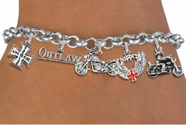 <Br>              EXCLUSIVELY OURS!!<Br>        AN ALLAN ROBIN DESIGN!!<Br>             LEAD & NICKEL FREE!! <Br>W19399B - SILVER TONE MOTORCYCLE <BR>   THEMED FIVE CHARM BRACELET <BR>     FROM $8.66 TO $19.25  �2012