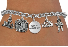 "<Br>              EXCLUSIVELY OURS!!<Br>        AN ALLAN ROBIN DESIGN!!<Br>             LEAD & NICKEL FREE!! <Br>W19410B - SILVER TONE FIRE FIGHTER <br>              ""KEEP MY HUSBAND SAFE""<BR>     THEMED FIVE CHARM BRACELET <BR>     FROM $7.31 TO $16.25  �2012"