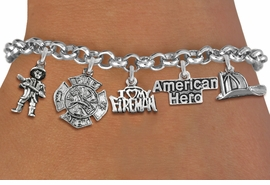 <Br>              EXCLUSIVELY OURS!!<Br>        AN ALLAN ROBIN DESIGN!!<Br>             LEAD & NICKEL FREE!! <Br>W19412B - SILVER TONE FIRE FIGHTER <BR>HERO THEMED FIVE CHARM BRACELET <BR>     FROM $7.31 TO $16.25  �2012