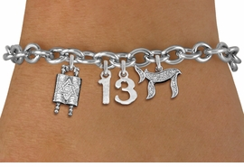 "<bR>               EXCLUSIVELY OURS!!<BR>         AN ALLAN ROBIN DESIGN!!<BR>            LEAD & NICKEL FREE!! <BR>W19809B - JEWISH BAS MITZVAH <BR>  ""13"", TORAH AND CHAI CHARM <BR>BRACELET FROM $5.63 TO $12.50 �2012"