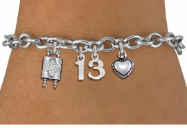 "<bR>               EXCLUSIVELY OURS!!<BR>         AN ALLAN ROBIN DESIGN!!<BR>            LEAD & NICKEL FREE!! <BR>W19810B - JEWISH BAS MITZVAH <BR>  ""13"", TORAH AND HEART CHARM <BR>BRACELET FROM $5.63 TO $12.50 �2012"