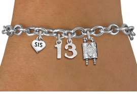 "<bR>               EXCLUSIVELY OURS!!<BR>         AN ALLAN ROBIN DESIGN!!<BR>            LEAD & NICKEL FREE!! <BR>W19811B - JEWISH BAS MITZVAH <BR>  ""13"", ""SIS""HEART AND TORAH CHARM <BR>BRACELET FROM $5.63 TO $12.50 �2012"