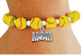 "<Br>                  EXCLUSIVELY OURS!!<Br>            AN ALLAN ROBIN DESIGN!!<Br>                 LEAD & NICKEL FREE!! <BR>W19931B - YELLOW STRETCH SOFTBALL <BR>   THEMED CHARM BRACELET WITH A<BR> ""SOFTBALL MOM!"" SILVER TONE CHARM <BR>      FROM $6.19 TO $13.75 �2012"