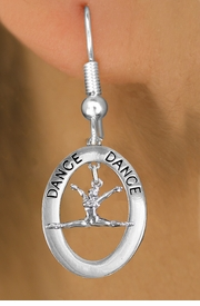 "<bR>                    EXCLUSIVELY OURS!! <BR>               AN ALLAN ROBIN DESIGN!!<BR>                  LEAD & NICKEL FREE!! <BR>  W20000E -  SILVER TONE ""DANCE"" OVAL <BR>   WITH A ""GRAND JETE' HORIZONTAL JUMP  <BR>           POSED ON A FISHHOOK EARRING <BR>             FROM $8.10 TO $18.00 �2013"