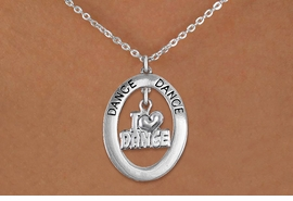 "<bR>                    EXCLUSIVELY OURS!! <BR>               AN ALLAN ROBIN DESIGN!!<BR>                  LEAD & NICKEL FREE!! <BR>  W20012N -  SILVER TONE ""DANCE"" OVAL <BR>     WITH SILVER TONE ""I LOVE DANCE"" <BR>       CHARM ON CHAIN LINK NECKLACE <BR>           FROM $5.85 TO $13.00 �2013"