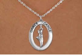 "<bR>                    EXCLUSIVELY OURS!! <BR>               AN ALLAN ROBIN DESIGN!!<BR>                  LEAD & NICKEL FREE!! <BR>  W20016N -  SILVER TONE ""DANCE"" OVAL <BR> WITH SILVER TONE POINTED BALLET SHOE <BR>       CHARM ON CHAIN LINK NECKLACE <BR>           FROM $5.85 TO $13.00 �2013"