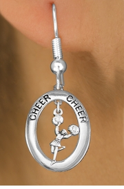 "<bR>                   EXCLUSIVELY OURS!! <BR>              AN ALLAN ROBIN DESIGN!!<BR>                 LEAD & NICKEL FREE!! <BR> W20028E -  SILVER TONE ""CHEER"" OVAL <BR> WITH POM POMS CHEERLEADER CHARM <BR>       ON A PAIR OF FISHHOOK EARRINGS <BR>            FROM $8.10 TO $18.00 �2013"