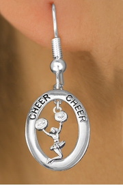 "<bR>                   EXCLUSIVELY OURS!! <BR>              AN ALLAN ROBIN DESIGN!!<BR>                 LEAD & NICKEL FREE!! <BR> W20032E -  SILVER TONE ""CHEER"" OVAL <BR> WITH JUMPING POMS CHEERLEADER CHARM <BR>       ON A PAIR OF FISHHOOK EARRINGS <BR>            FROM $8.10 TO $18.00 �2013"