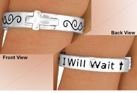 "<BR>             EXCLUSIVELY OURS!!!<Br>         AN ALLAN ROBIN DESIGN!<Br>W11891R - ""I WILL WAIT"" & CROSS<Br>STRETCH RING FROM $2.25 TO $5.00"